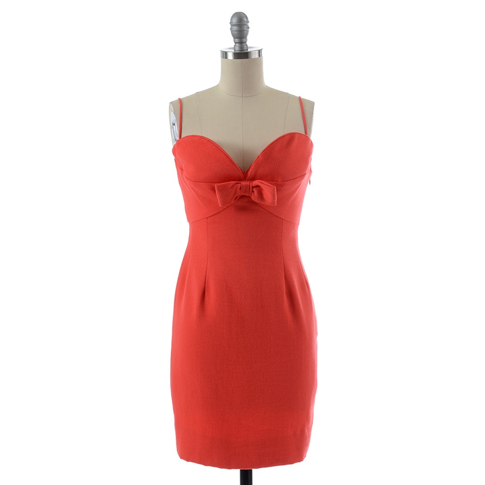 Robert David Morton Sleeveless Cocktail Dress in Textured Coral with Flat Bow