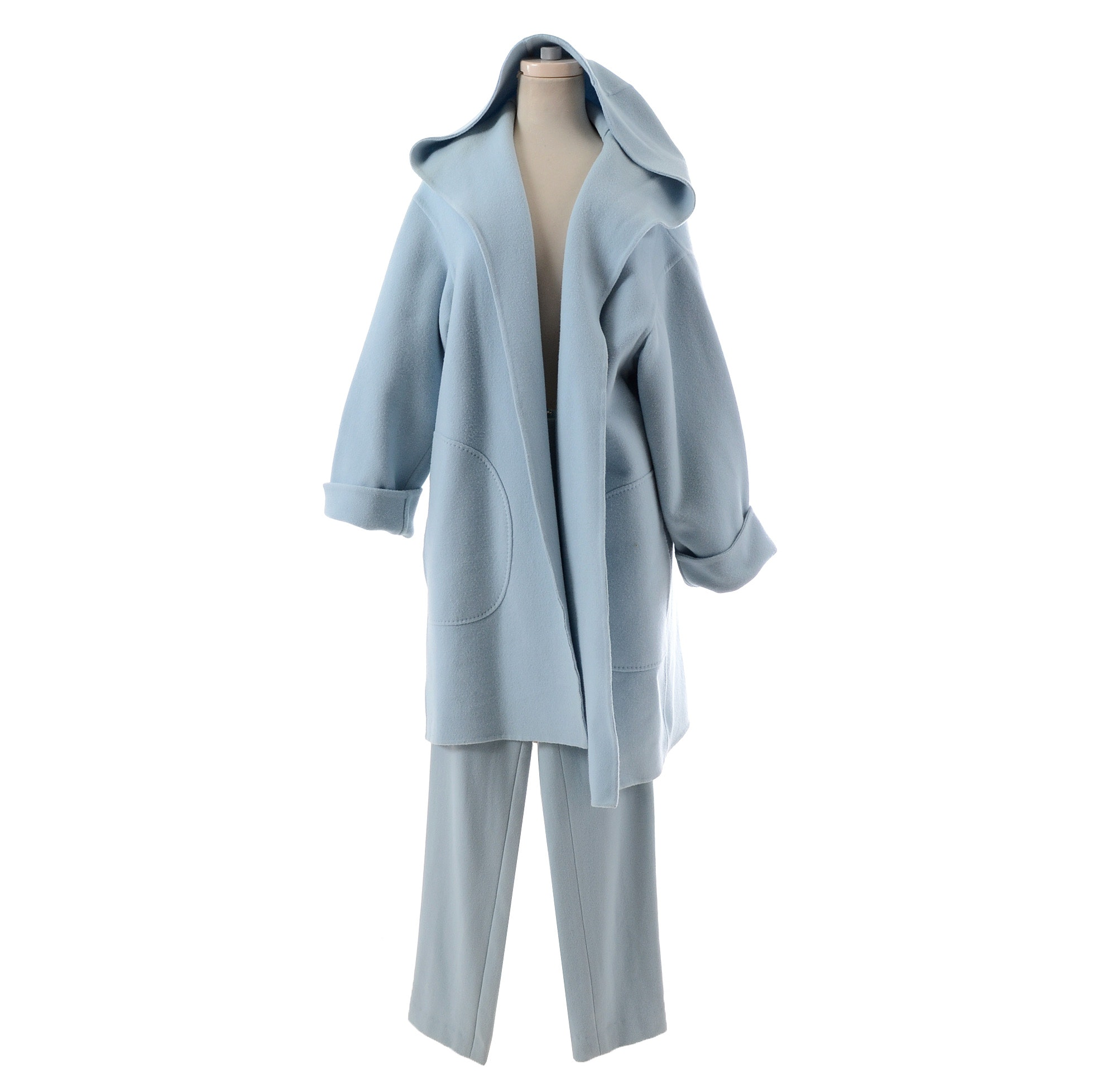 Ralph Lauren Collection Powder Blue Wool/Cashmere and Angora Blend Open Front Coat with Matching 100% Cashmere Pants