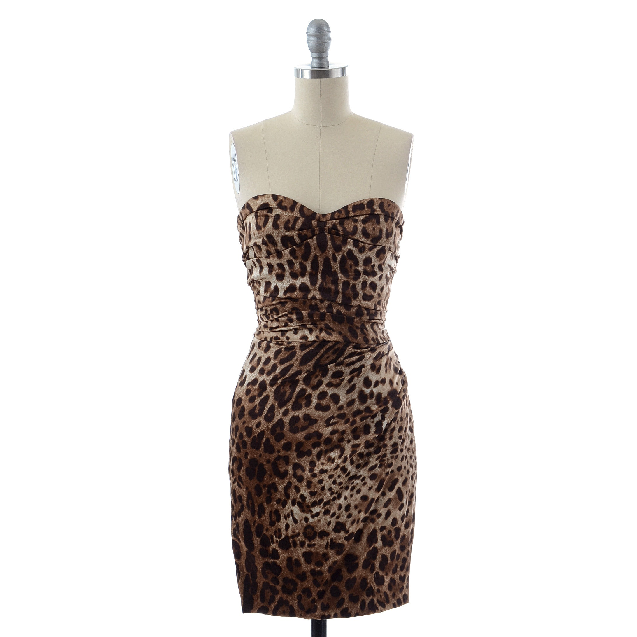 Dolce & Gabbana Leopard Print Charmeuse Silk Ruched Cocktail Dress