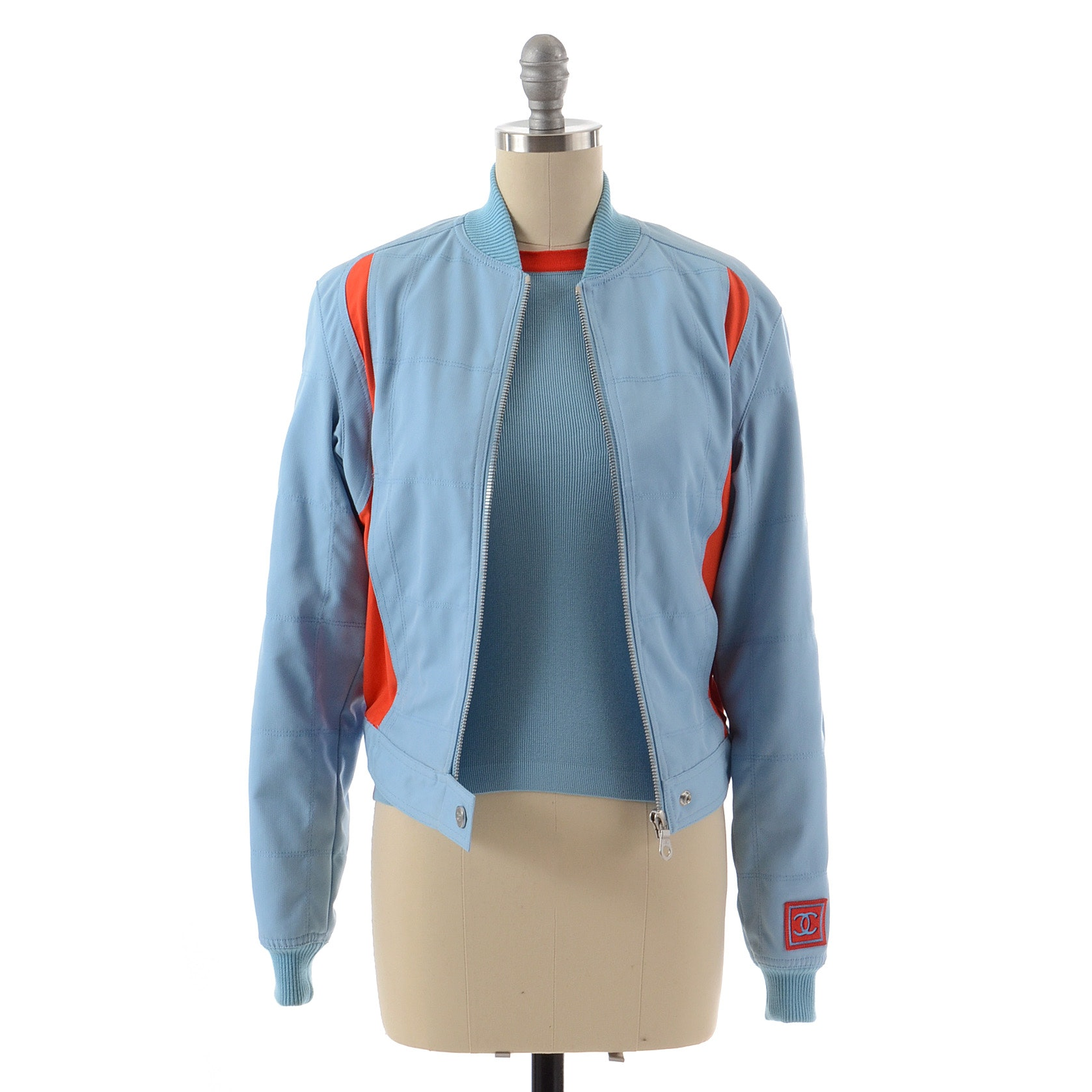 Chanel Cotton Zipper Front Jacket in Blue Cotton with Orange Accents and Matching Sleeveless Top