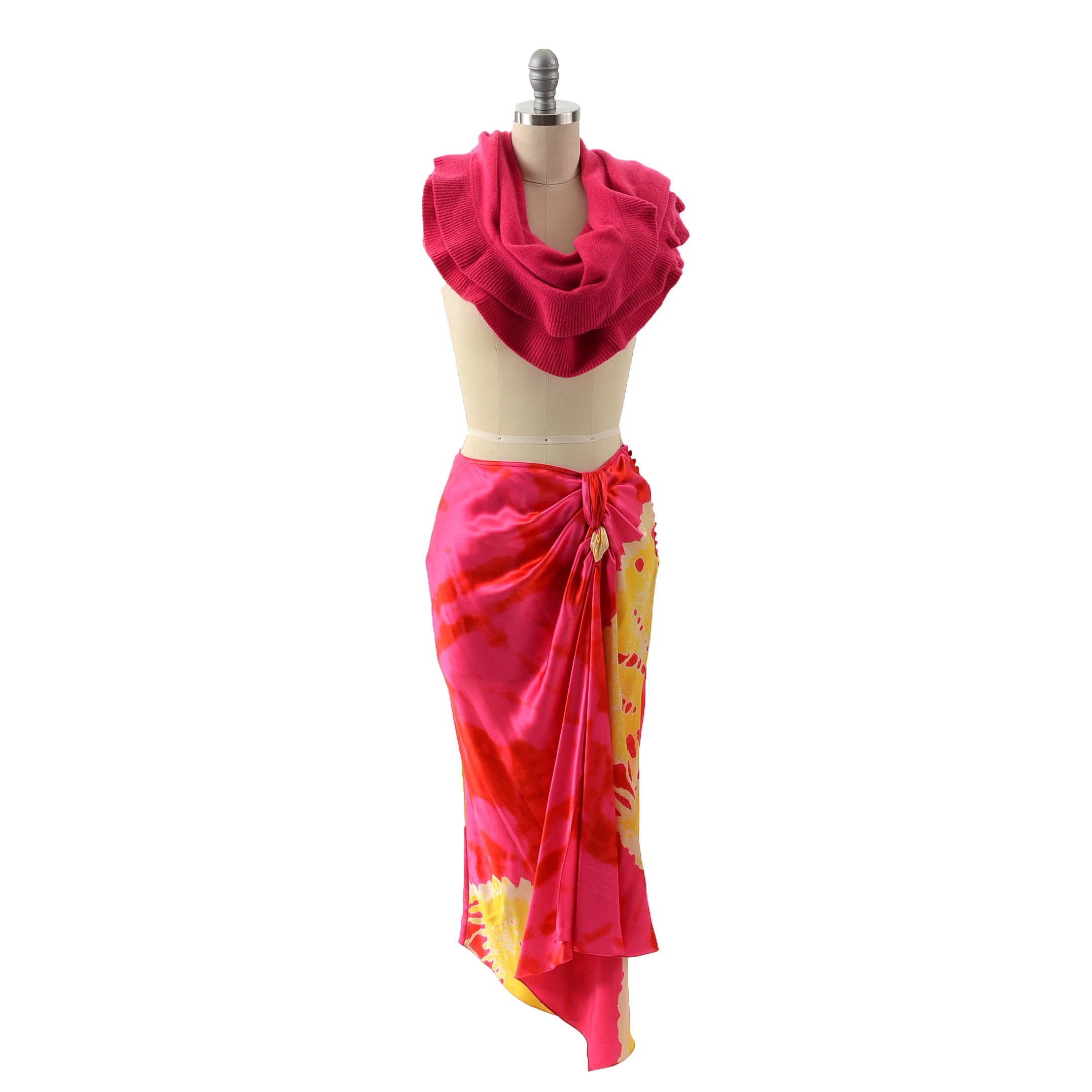 Christian Dior Dyed Silk Skirt and Fuschia Pink Cashmere Wrap