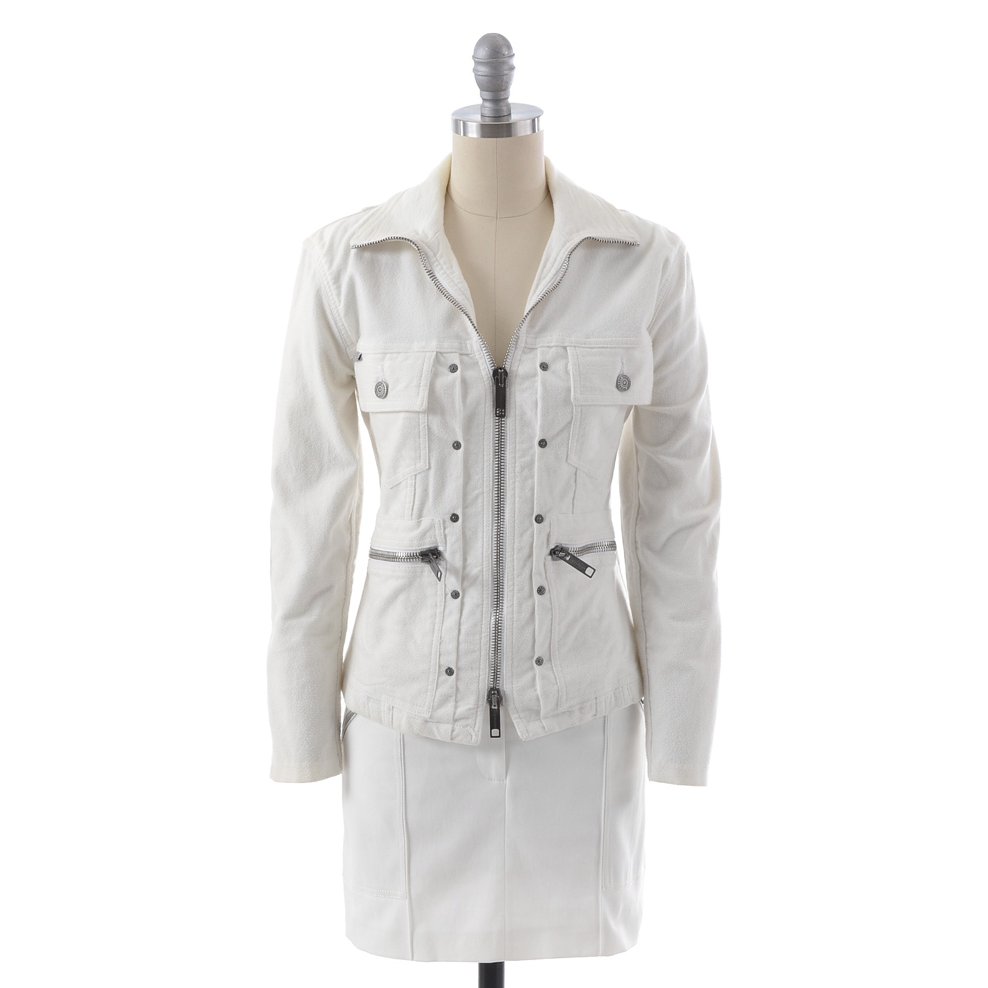 Burberry of London Zipper Front White Cotton Blend Jacket and Mini