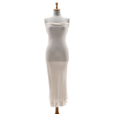 "Susan's Ivory Silky Satin Chiffon Slip Dress She's Wearing on the Spine of Her Memoir ""All My Life"""