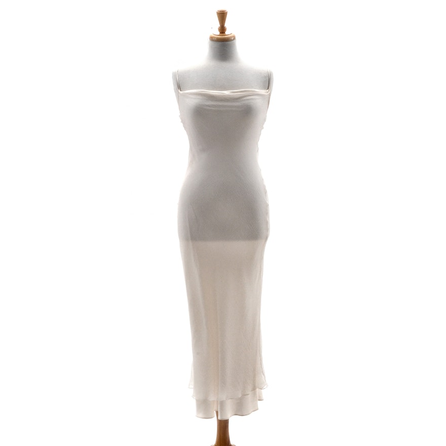 """Susan's Ivory Silky Satin Chiffon Slip Dress She's Wearing on the Spine of Her Memoir """"All My Life"""""""