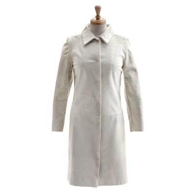 Dolce & Gabbana White Pony Skin Leather and Leopard Print Coat