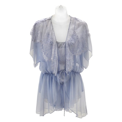 "Susan's Jonquil Baby Blue Satin and Lace Teddy and Short Wrap Robe worn on the ABC Daytime Soap Opera ""All My Children"""