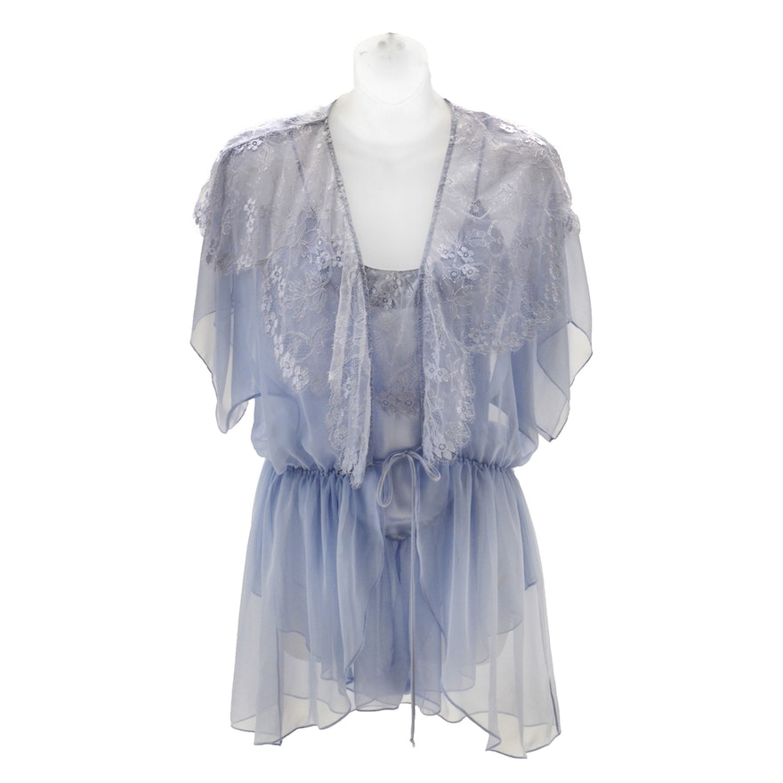 """Susan's Jonquil Baby Blue Satin and Lace Teddy and Short Wrap Robe worn on the ABC Daytime Soap Opera """"All My Children"""""""