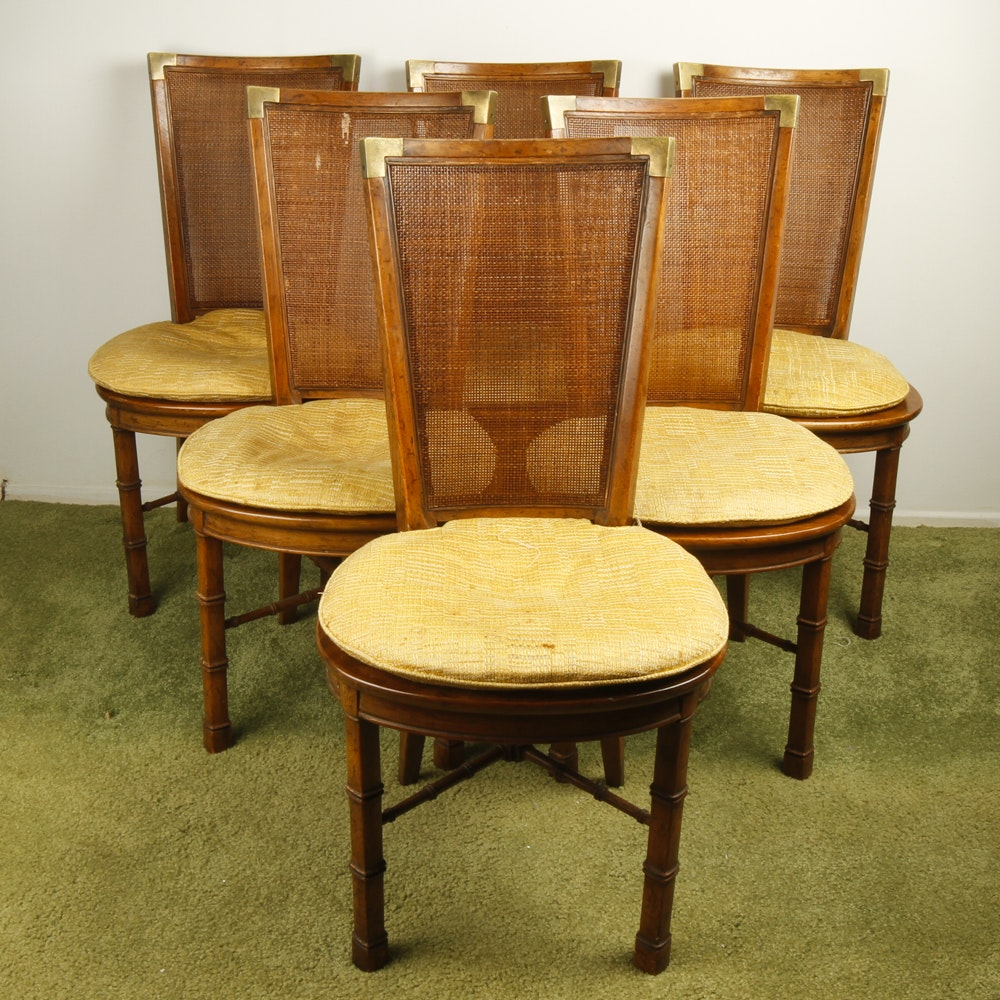 Vintage Drexel Heritage Wood And Brass Dining Chairs ...