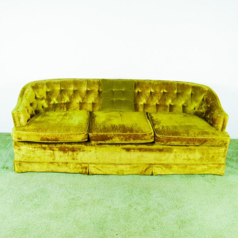 Vintage Green Velvet Couch ...
