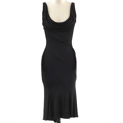 Gianni Versace Couture Body Con Sexy Black Sleeveless Cocktail Dress New With Tag