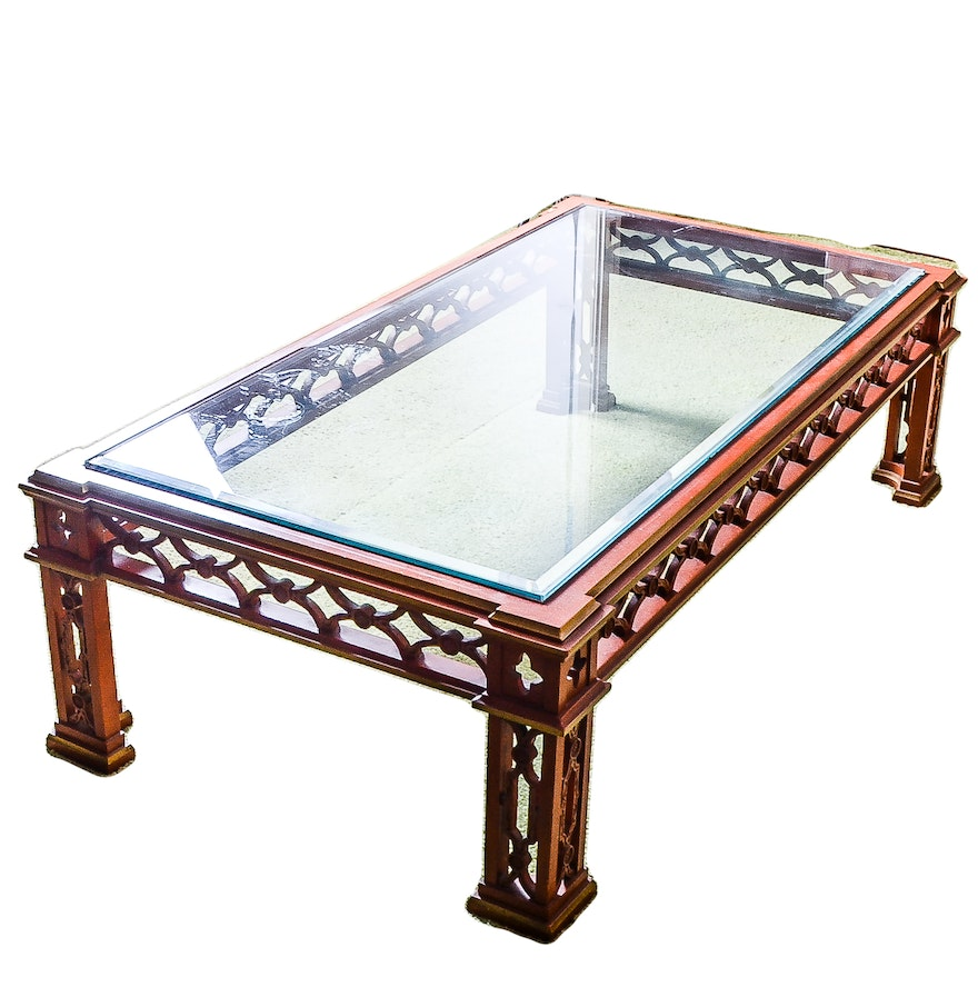 Oriental Glass Top Coffee Table: Glass Top Chinese Chippendale Coffee Table : EBTH