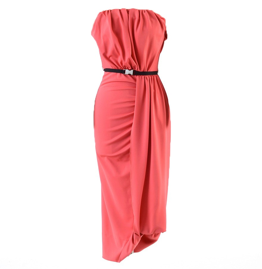 Prada Jersey Cady Strapless Dress in Tamaris Pink with Signature Black Grosgrain Ribbon Belt
