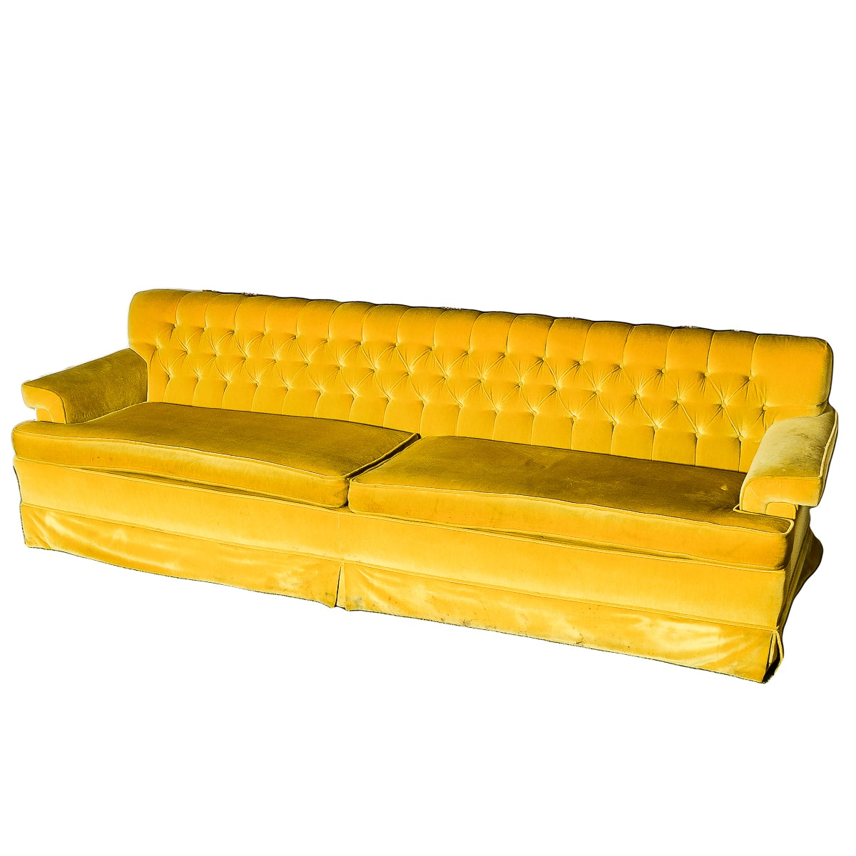 Charmant Vintage Mustard Yellow Velvet Couch ...