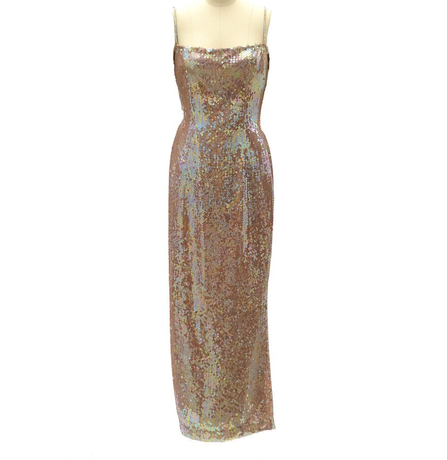 Escada Couture Iridescent Sequined Sleeveless Evening Dress Susan Wore to the Sixth Annual Benefit For the Elton John Aids Foundation