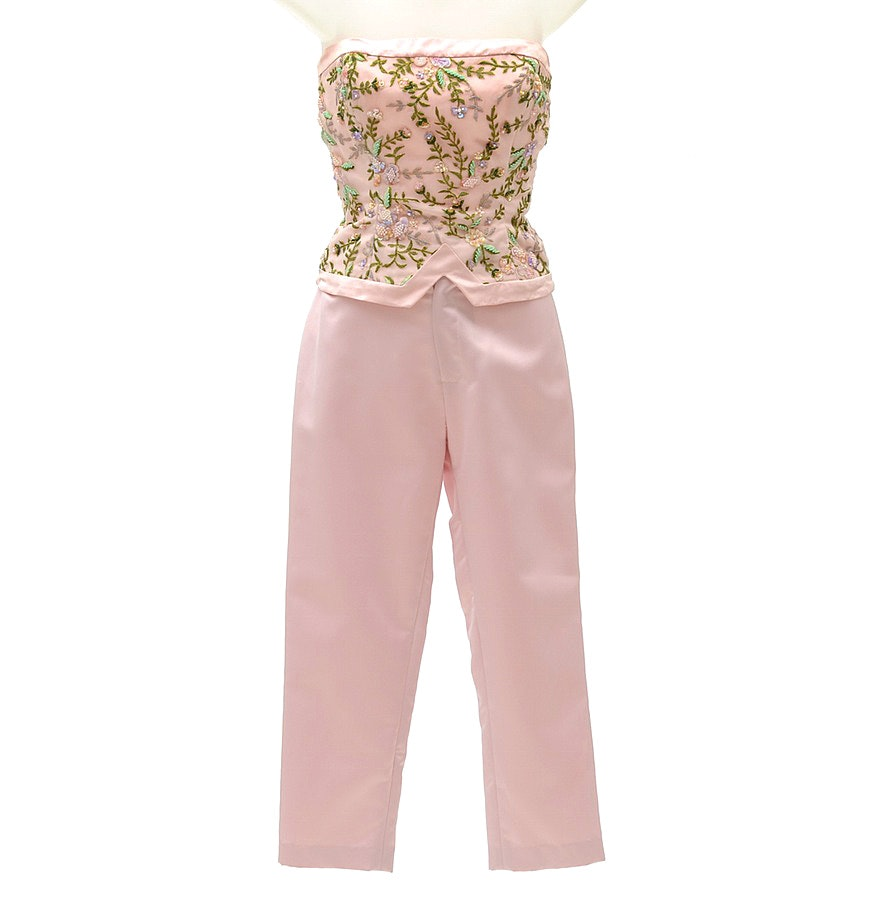 Fiandaca Formal Ensemble with Pink Silk Embroidered Strapless Bodice and Cropped Trousers