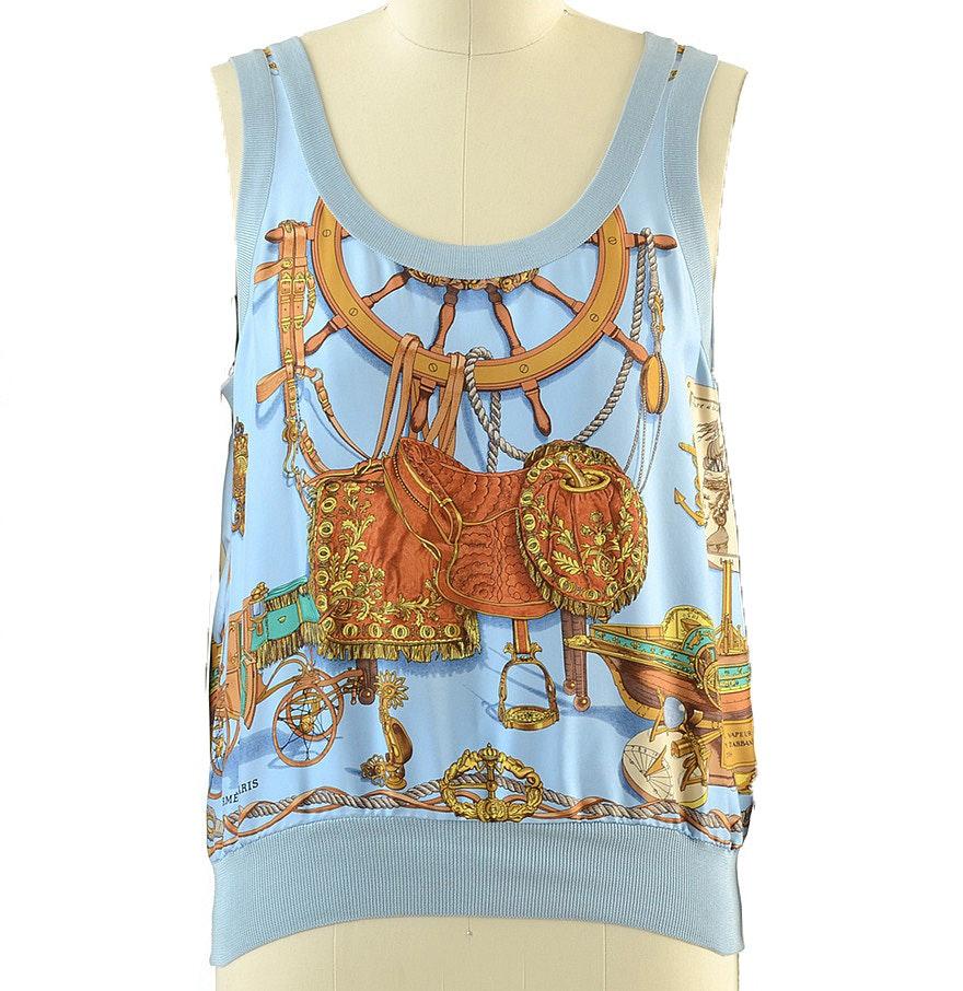 Hermès of Paris Soie Silk Equestrian Print Sleeveless Blouse