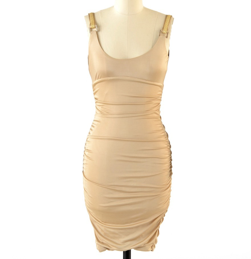 Gianni Versace Body Con Jersey Sleeveless Cocktail Dress