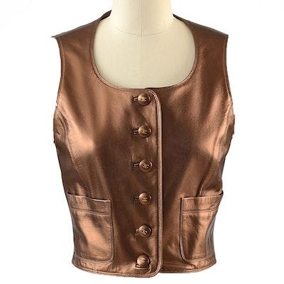 Chanel Boutique Bronze Lambskin Leather Vest