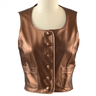 Chanel Boutique Bronze Lambskin Leather Vest