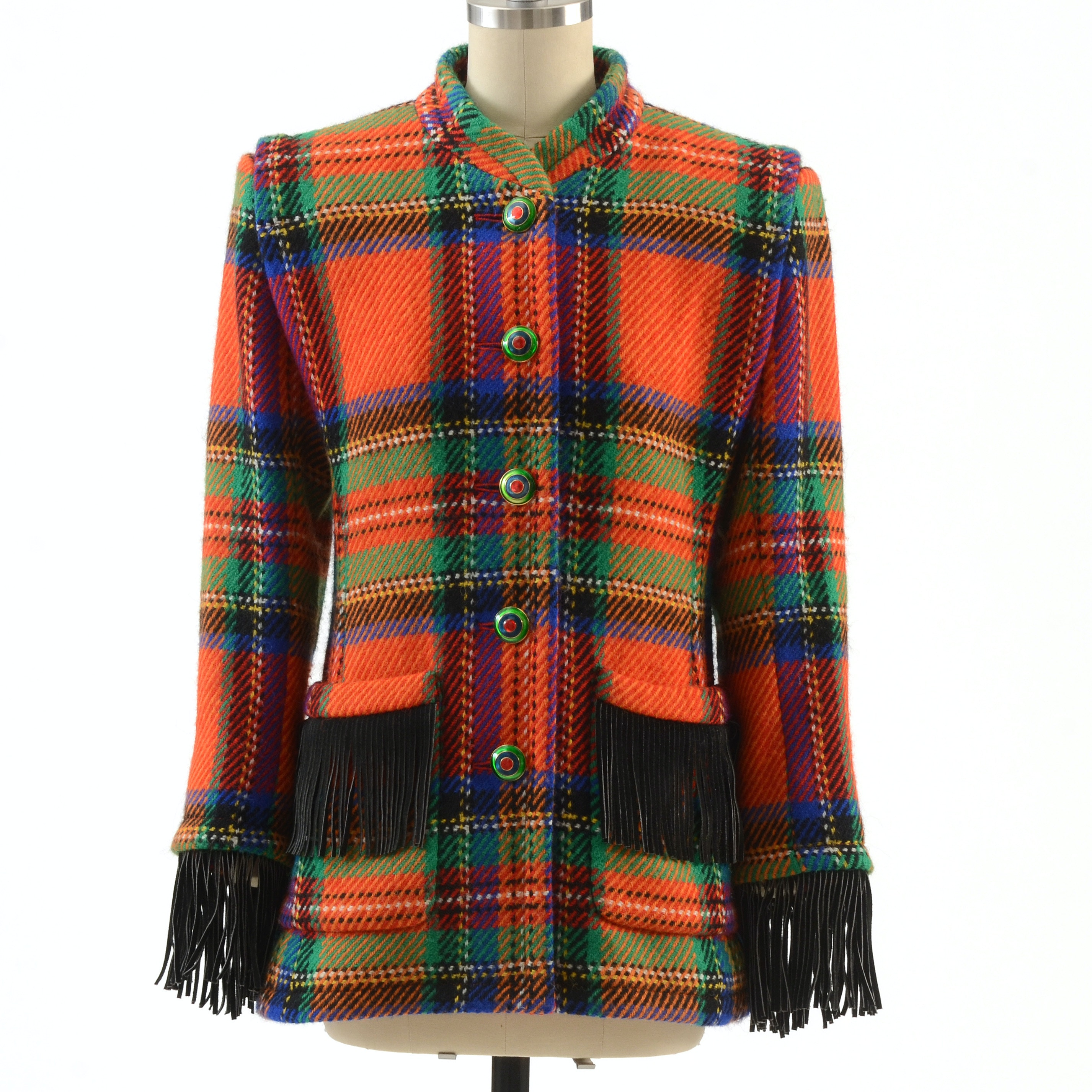 Yves Saint Laurent Rive Gauche Multi-Color Wool Jacket with Black Suede Fringe