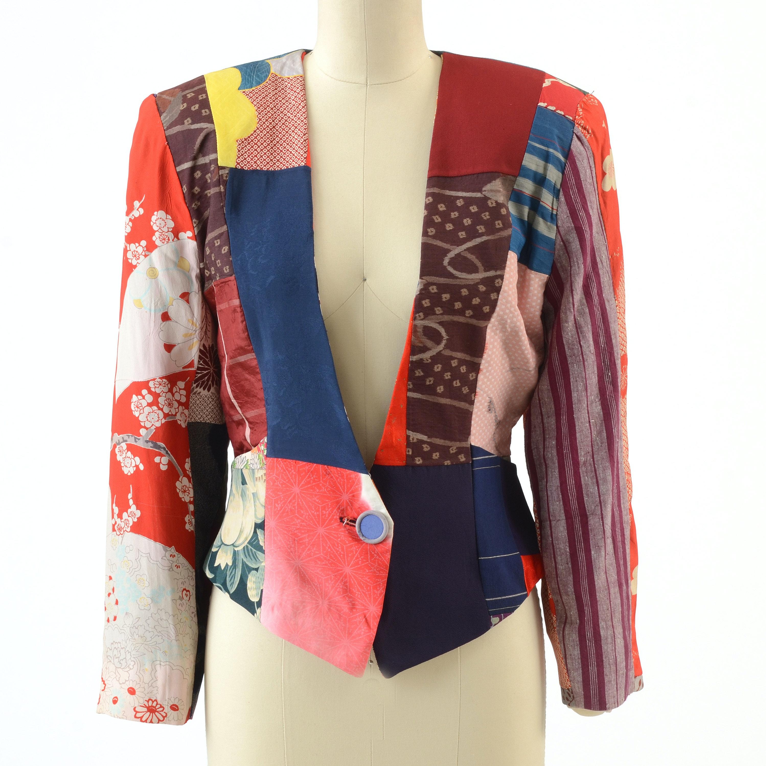 Grau Handmade Single Button Jacket Made with Vintage Kimono Fabrics