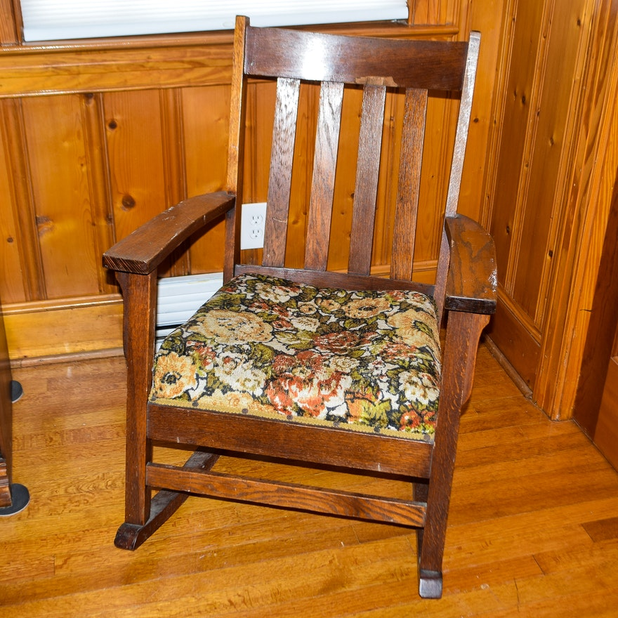 Vintage Mission Style Rocking Chair with Tapestry Seats ... - Vintage Mission Style Rocking Chair With Tapestry Seats : EBTH