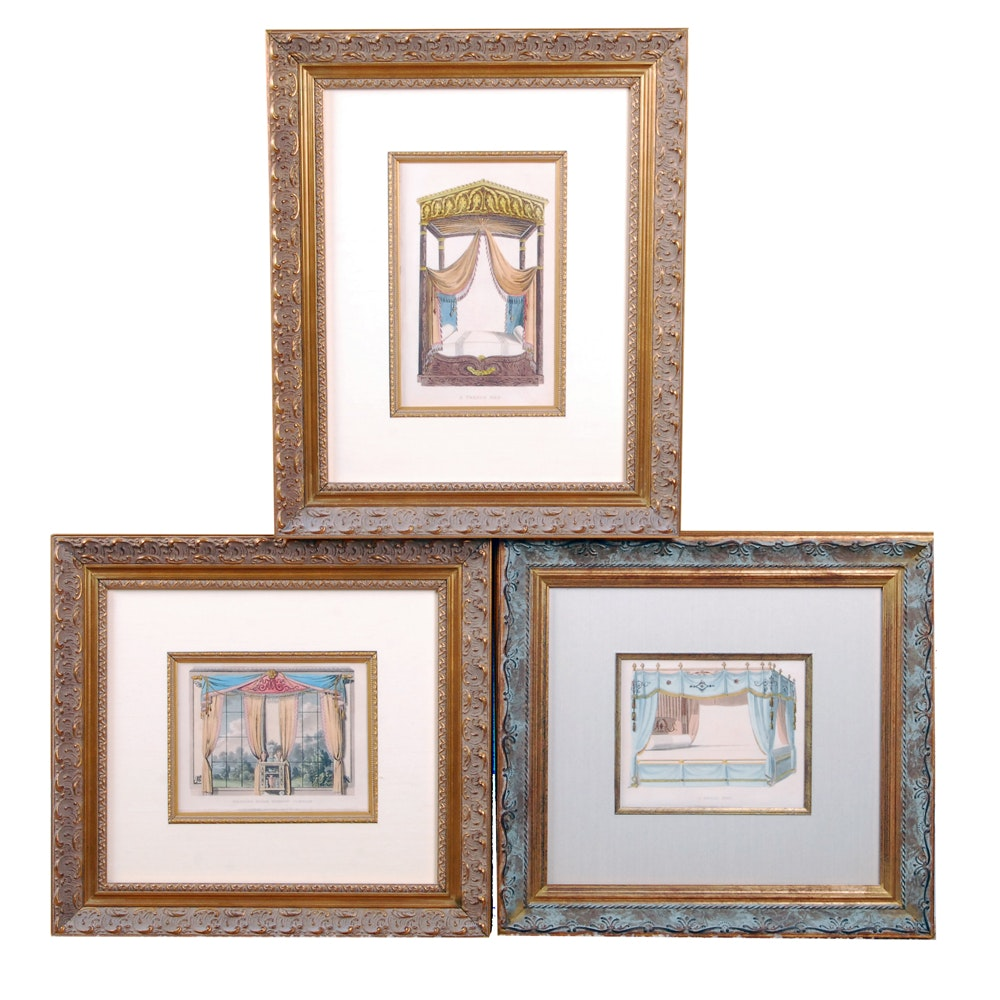 Hand-Colored Aquatint Etching on Paper of Interior Decors