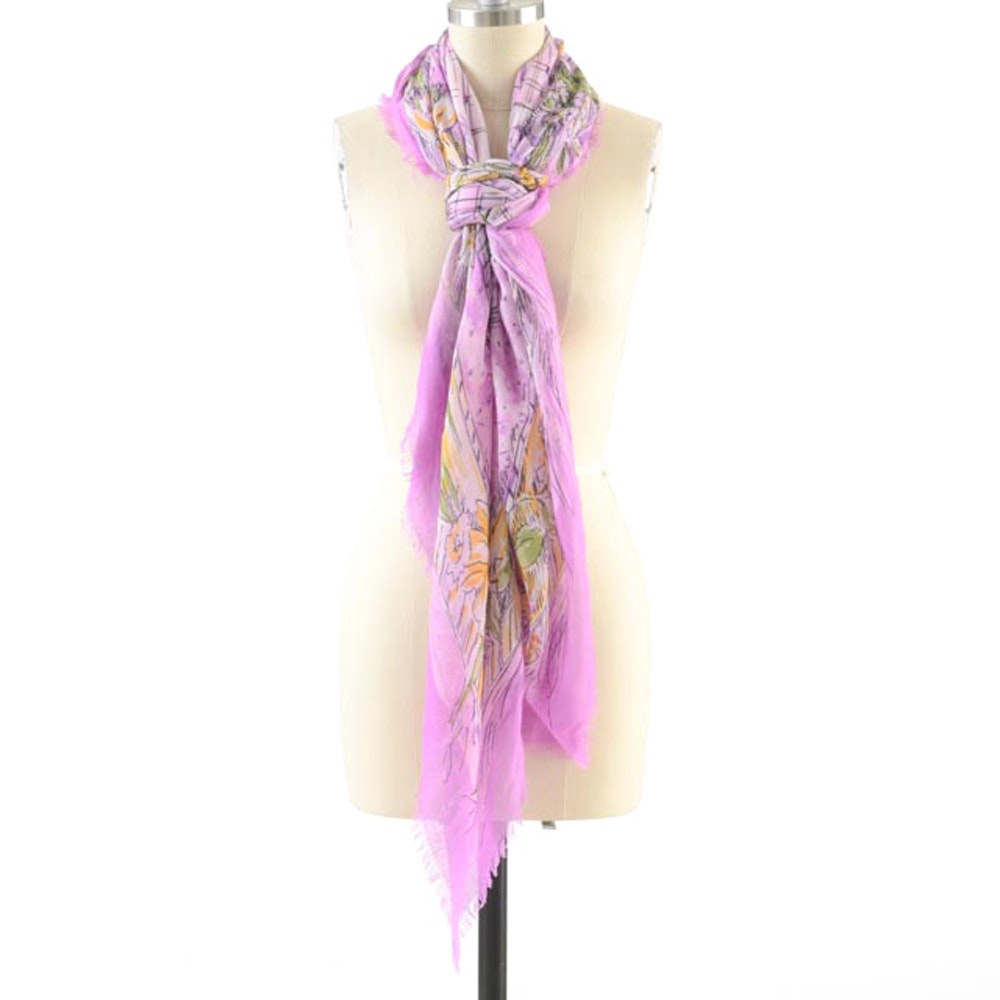 Loro Piana Lilac Cashmere and Silk Knit Shawl with Frayed Edge in an Abstract Floral Garden Print