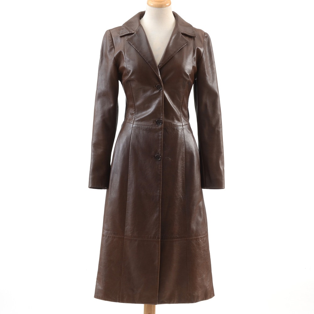 Dolce & Gabbana Cocoa Brown Leather Signature Three Button Front Coat with Leopard Print Rayon Lining