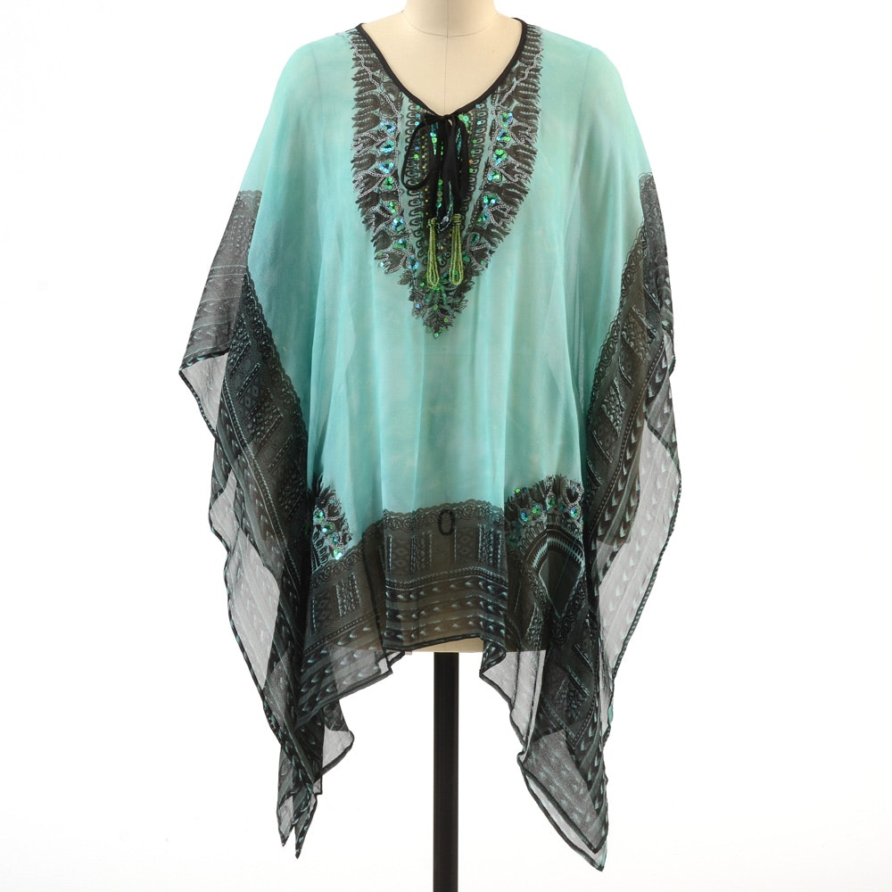 """Valerie """"Bamboo"""" Tunic Blouse In Light Teal and Black 100% Silk Print Embellished with Sequins"""