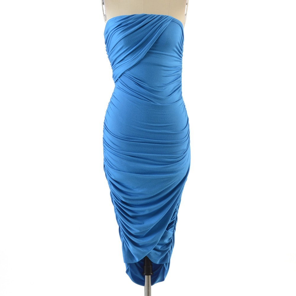 Rachel Pally Ruched Body Con Blue Jersey Strapless Dress