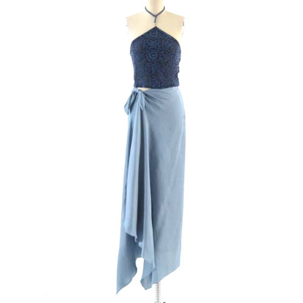 Evening Ensemble with Seed Beaded Blue Silk Sleeveless Bodice and Slate Blue Long Silk Skirt