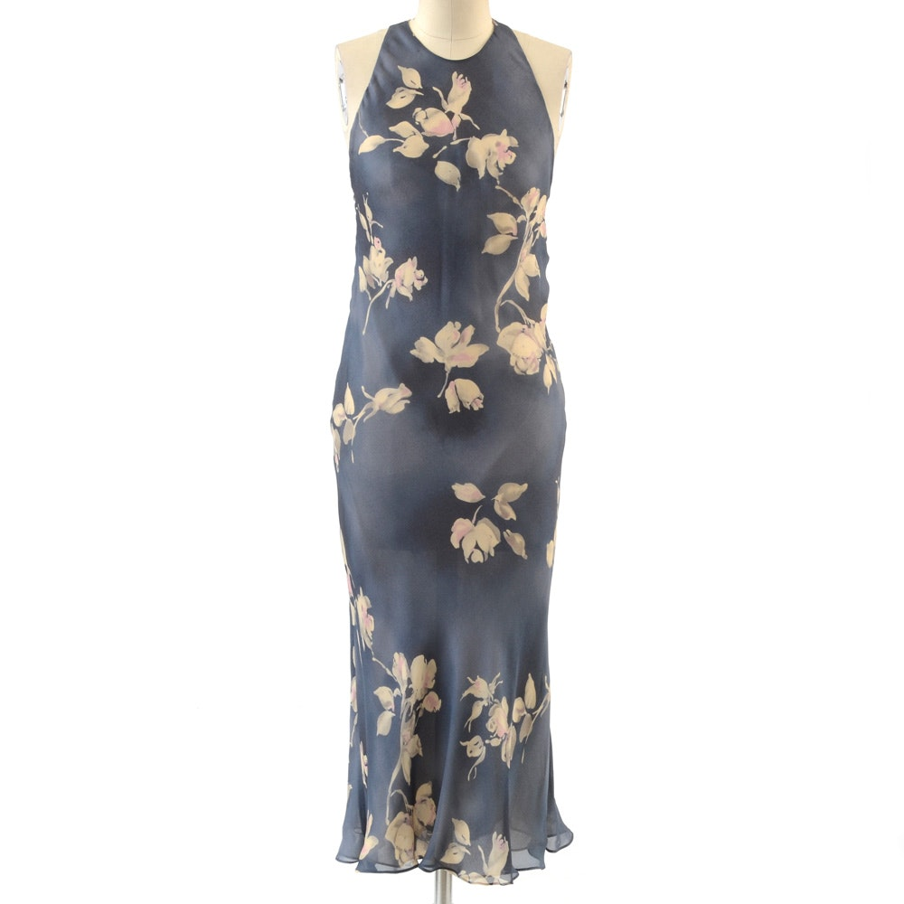 Ralph by Ralph Lauren Silk Chiffon Floral Print Sleeveless Dress