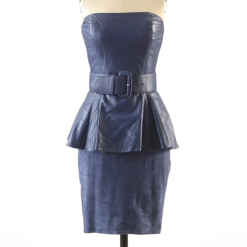1990s Deadstock Vakko Demure Blue Lambskin Leather Peplum and Suede Strapless Dress with Matching Belt