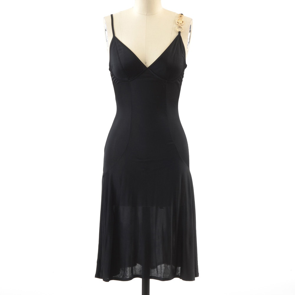 Versace Mare Black Sleeveless Slip Dress with Chain Link Medusa Logo Accent Strap Encrusted with Rhinestones