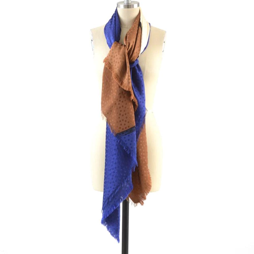 Saint Laurent Rive Gauche of Paris Silk Shawl in Polka Dot Multi-Color Silk Brocade