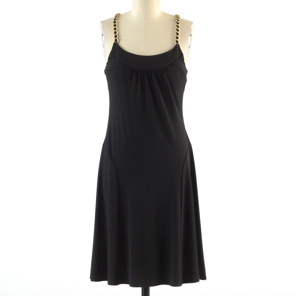 Donna Morgan Sleeveless Black Cocktail Dress with Chain Link Shoulder Straps