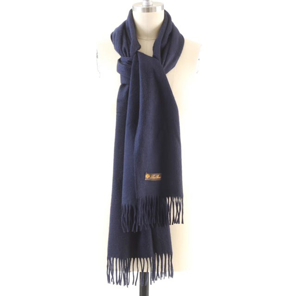 Loro Piana Navy Blue LUXE Grand Cashmere Wrap with Fringe