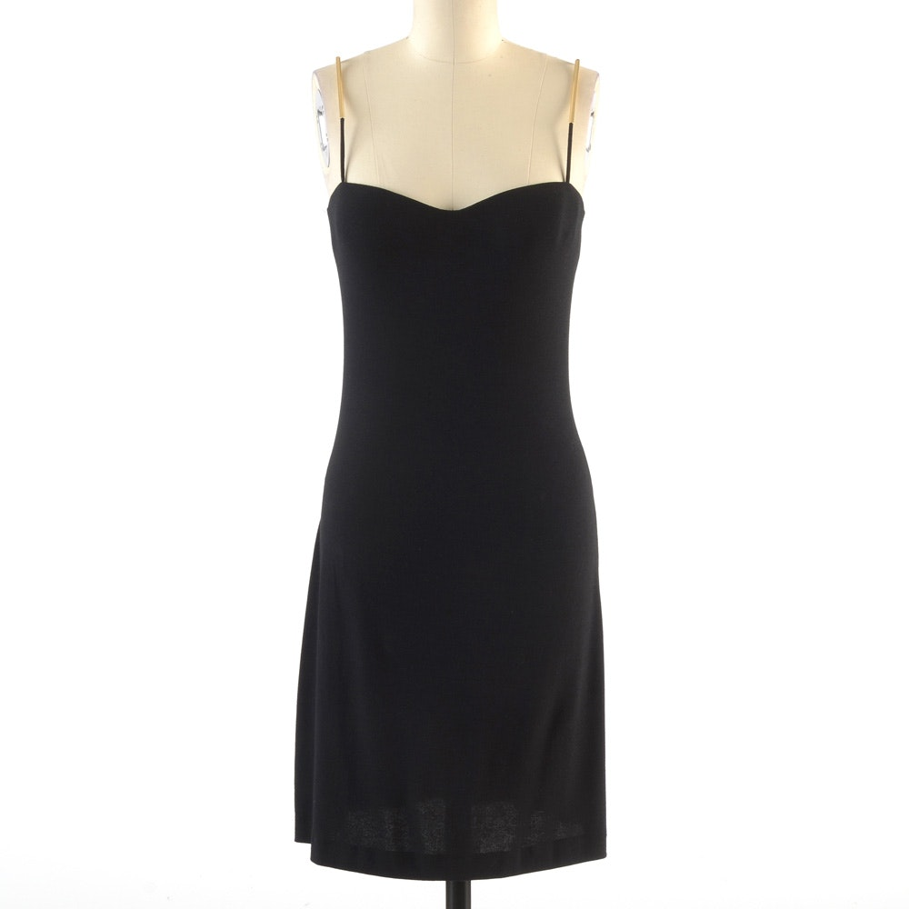 La Perla Black Sleeveless Cocktail Dress with Metal Tubular Accents on the Straps