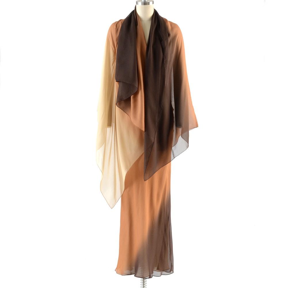 Gucci Ombré Silk Chiffon Sleeveless Slip Dress with Matching Signature Wrap