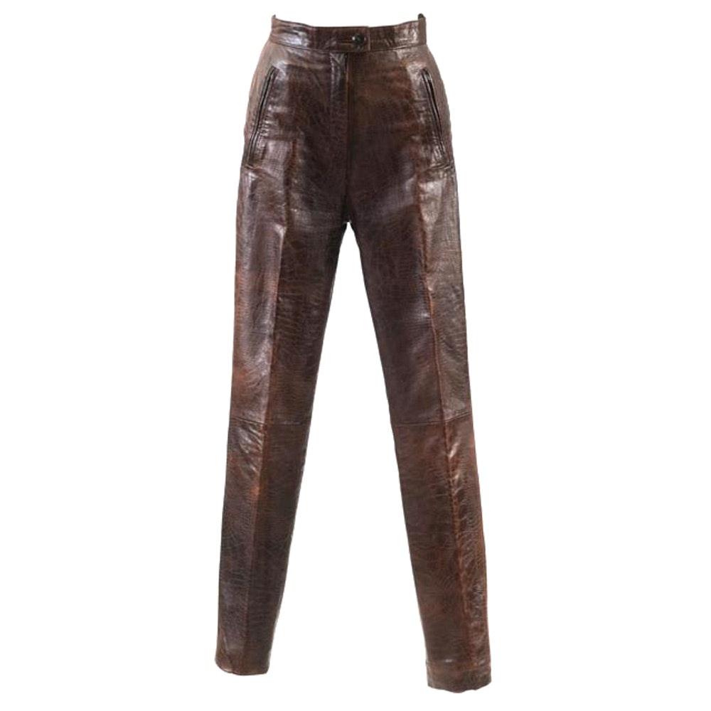 Pair of Vintage Gingette Brown Leather Embossed Alligator Pants