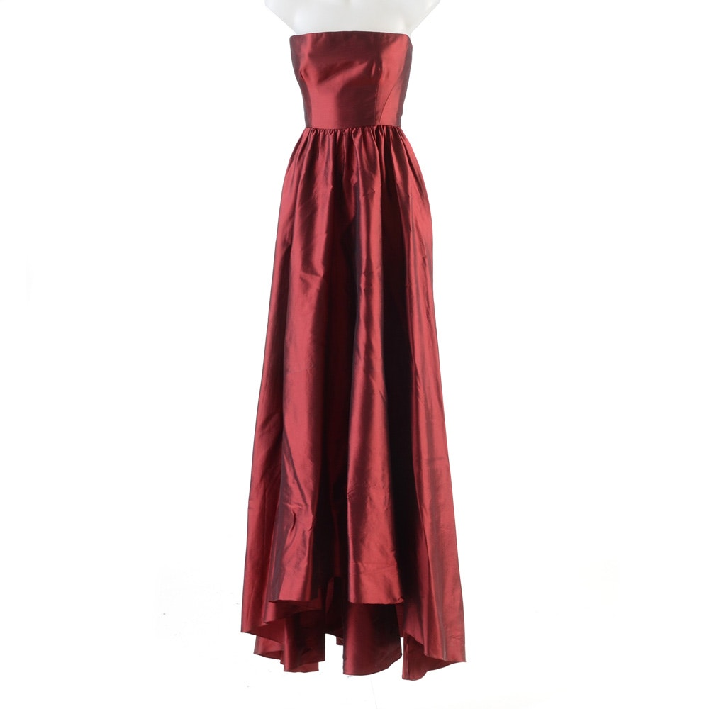 Anne Bowen Strapless Formal Gown In Cabernet Red