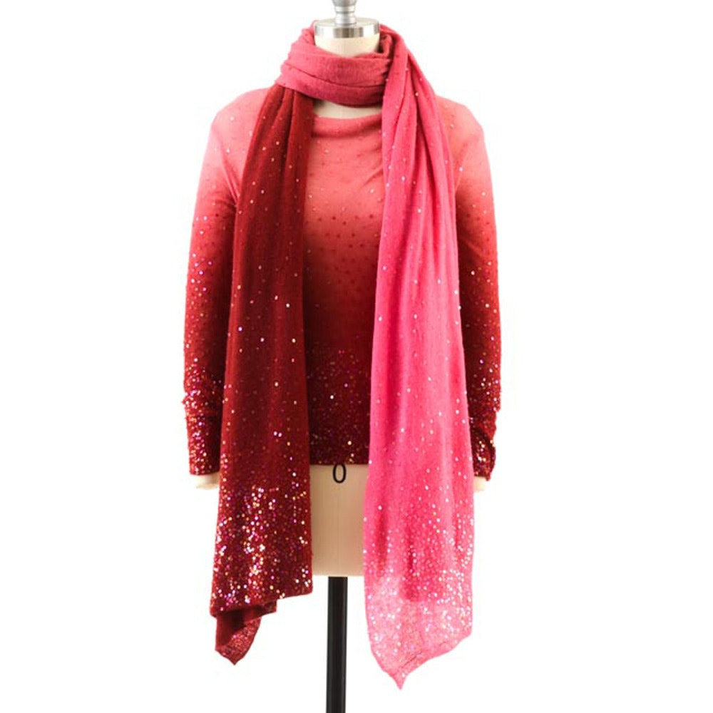 Armand Diradourian of New York Cashmere Pullover and Matching Wrap in Ombre Rose and Wine with Hand Stitched Iridescent Sequins