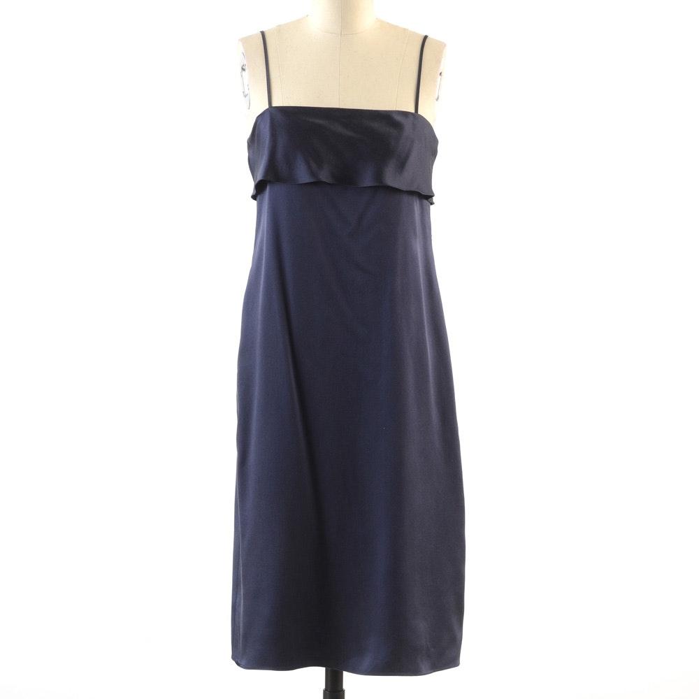 Theory Navy Blue Satin Silk Sleeveless Slip Dress