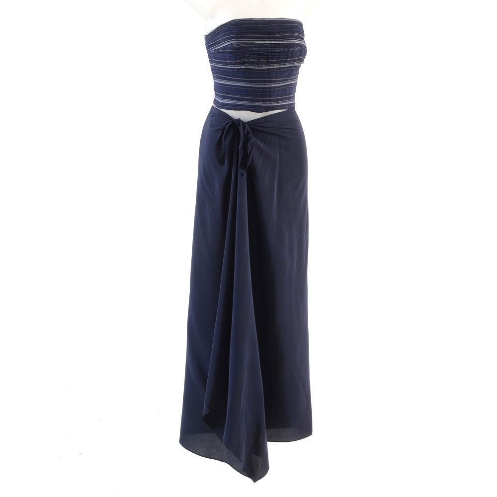 Ralph Lauren Collection Navy Blue Silk Evening Ensemble with Pleated Chiffon Strapless Bodice and Long Silk Skirt with Side Tie Bow