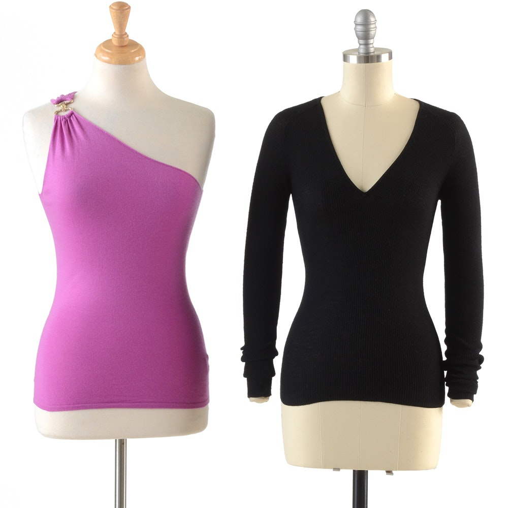 Gucci One-Shoulder Cashmere Blend Pullover in Lilac and a Gucci Black Ribbed Cashmere Blend Top