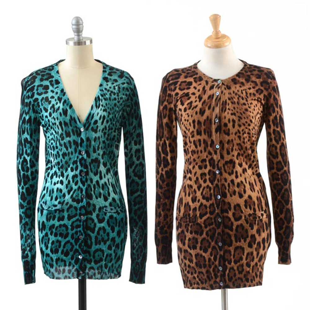Two Dolce & Gabbana Button Front Leopard Print Knit Long Cardigans