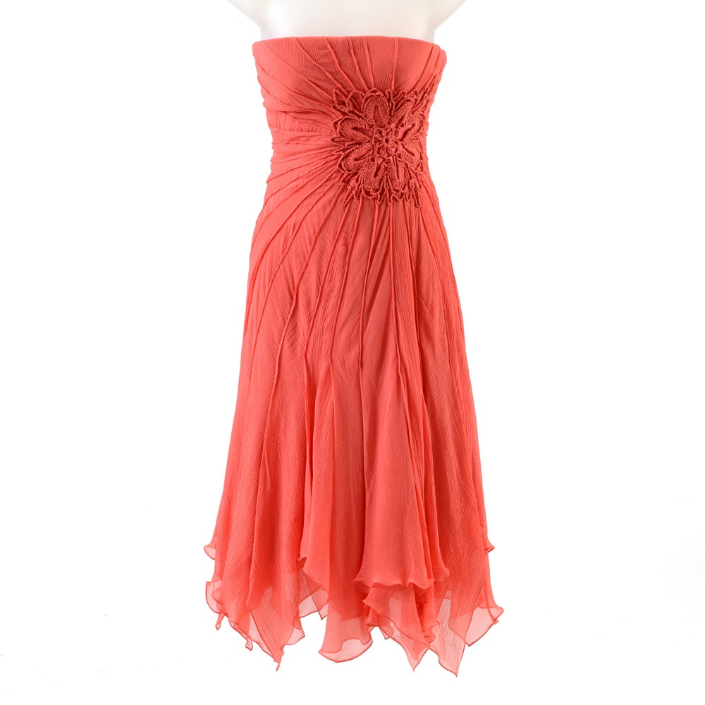 Carlos Miele Coral Silk Crepe and Satin Crochet Strapless Dress
