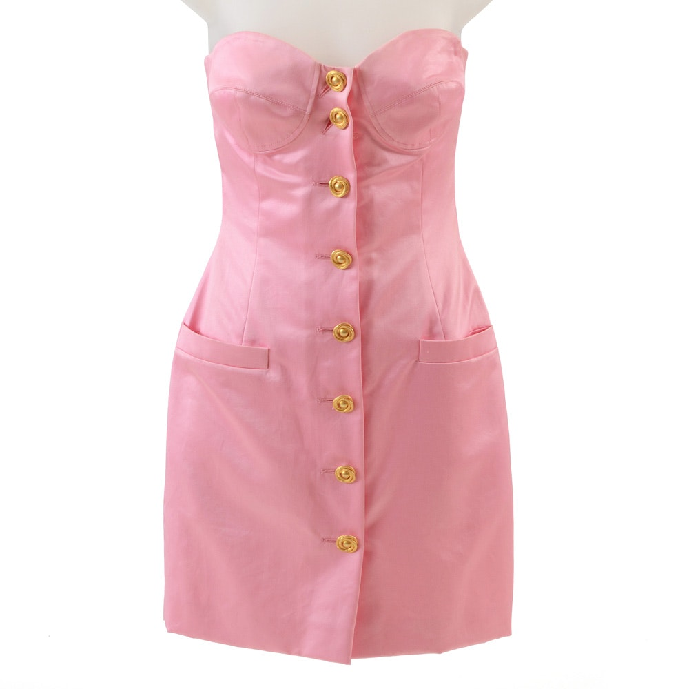 "Deadstock Escada by Margaretha Ley ""Kleid M"" Sleeveless Cocktail Dress in Pink Cotton"