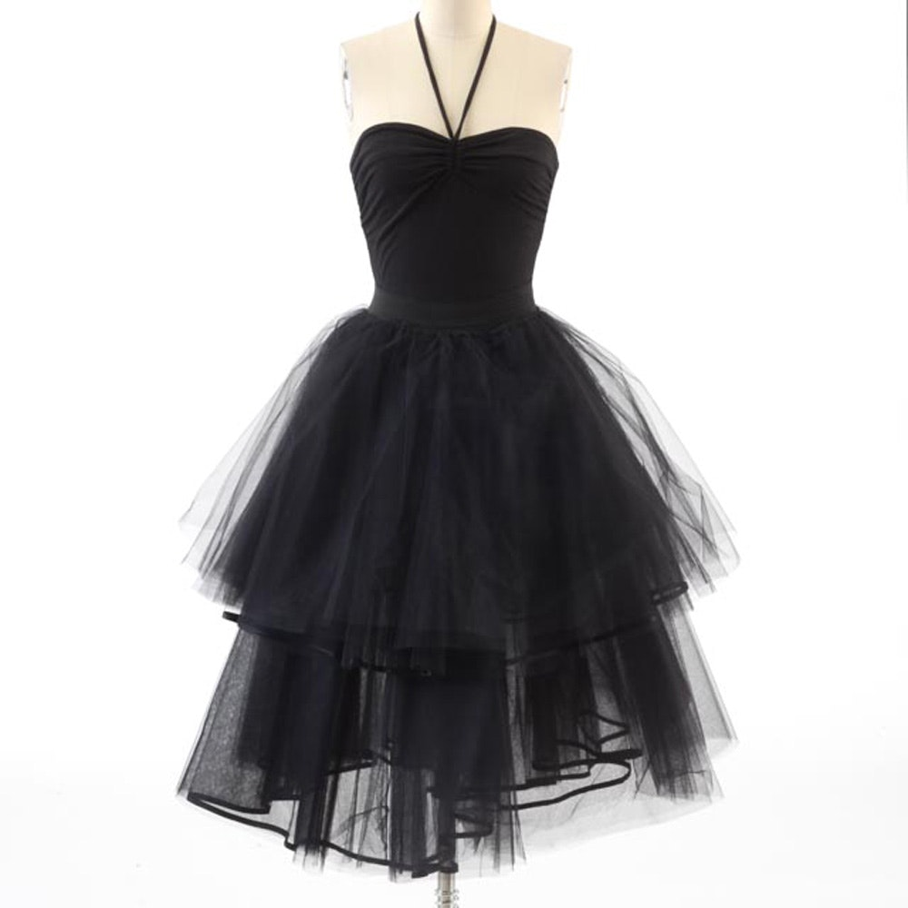 Saraco of Paris Black Tulle Skirt Paired with a Moda International Black Jersey Halter Top